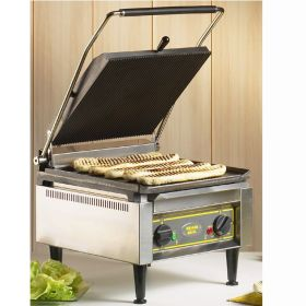 Roller Grill PANINI XLE L Extra Large Single - Ribbed Top & Flat Base Plates Contact Grill
