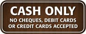 CASH ONLY sign - Mileta CA007