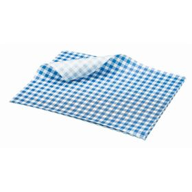 Greaseproof Paper Gingham Print Blue 25X20cm - Genware