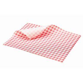 Greaseproof Paper Gingham Print Red 25X20cm - Genware
