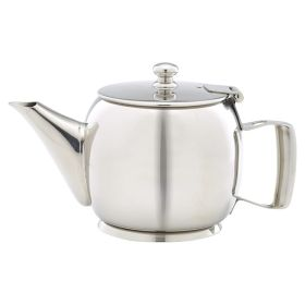Polished Stainless Steel Premier 2 Cup Teapot 40cl/14oz - Genware PRMT14