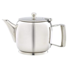 Polished Stainless Steel Premier 2 or 3 Cup Teapot 60cl/20oz - Genware PRMT20