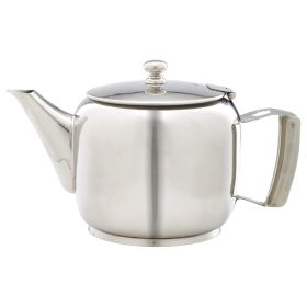 Polished Stainless Steel Premier 5 or 6 Cup Teapot 120cl/40oz - Genware PRMT40