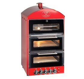 King Edward PK2W Pizza King Oven - Double Deck With Warmer - Red