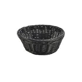 Black Round Polywicker Basket 21Ø x 8cm - Genware
