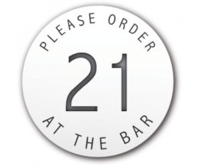 Table Number Discs White for Restaurant / Cafe / Pub - Please Order At The Bar - Singles