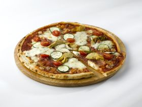 Genware Round Acacia Wood Serving / Pizza Board 33cm