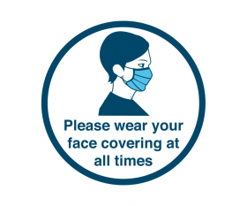 """Please Wear Your Face Mask At All Times"" - Floor & Wall Vinyl Sticker / Sign 20cm"