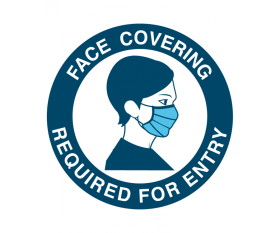 """Sign - """"Face Covering Required For Entry"""" Vinyl Sticker 125mm Diameter"""