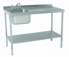 Flat Packed Parry Single Bowl Right Hand Drainer Sink - Stainless Steel L1000 x W600 x W900 - SINK1060RFP