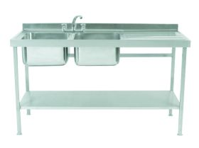 Parry Double Bowl Right Hand Drainer Sink - Stainless Steel L1500 x W600 x W90 - SINK1560DBR
