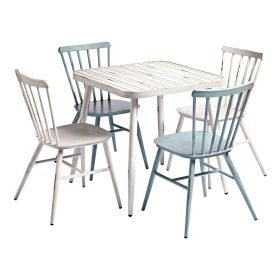 CAFÉ White & Blue Rustic Outdoor Dining Set – ZA.500.605PA
