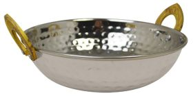 Kadai Dish Stainless Steel With Brass Handles - 17cm SSK17