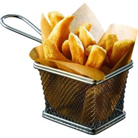 Serving Fry Basket Rectangular 10 X 8 X 7.5cm - Genware