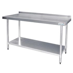 Vogue Stainless Steel Prep Table with Upstand - T382 - 900(H) x 1500(W) x 600(D)mm