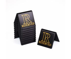 Black & Gold Reserved Table Sign For Restaurants / Cafes / Pubs - Pack of 10