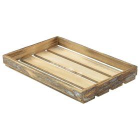 Wooden Crate Dark Rustic Finish 35X23X4cm - Genware