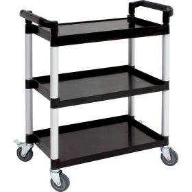 Genware Large 3 Tier Pp Trolley Black Shelves
