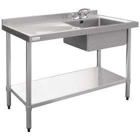 Vogue Stainless Steel Sink Left Hand Drainer 1200x600mm - U903
