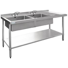 Vogue Stainless Steel Sink Double Bowl with Right Hand Drainer 1800mm - U908