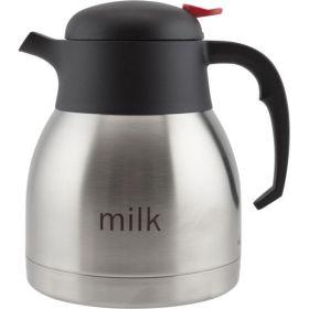Milk Inscribed Stainless Steel Vacuum Push Button Jug