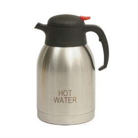 Hot Water Inscribed Stainless Steel Vacuum Jug 2.0L - Genware