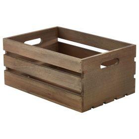 Wooden Crate Dark Rustic Finish 34X23X15cm - Genware