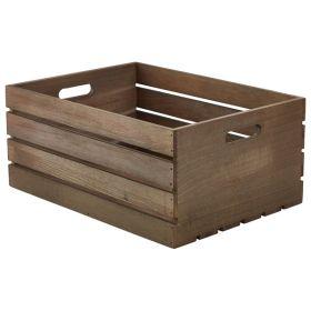 Wooden Crate Dark Rustic Finish 41X30X18cm - Genware