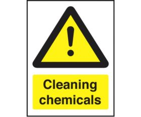 Cleaning chemicals safety sign 150x200mm self-adhesive
