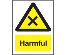 Harmful safety sign 200x150mm self-adhesive