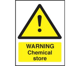 Warning chemical store safety sign 150x200mm self-adhesive