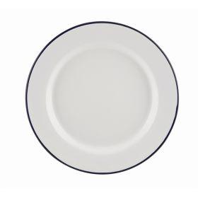 Enamel Wide Rim Plate White & Blue 24cm