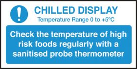 Check chilled display temperature guide notice. 100x200mm. S/A