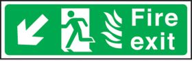 Fire exit arrow down left Hospital. 150x450mm S/A