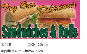 Window Sign FD129 - 'Sandwiches & Rolls'