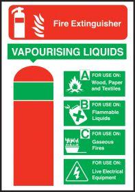 Extinguisher safety vapourising liquid sign 200x140mm