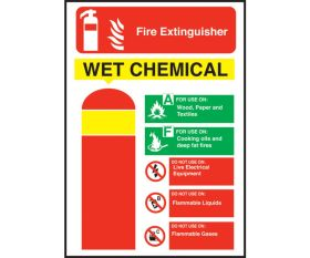 Wet Chemicals Fire Extinguisher Equipment Sign 200x140mm