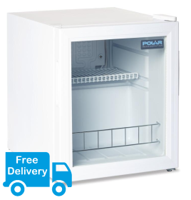Polar DM071 Countertop Glass Door Display Fridge - White