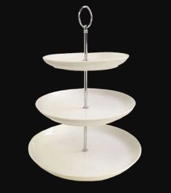 Orion C88215 3 Tier White Porcelain Cake Stand - pk 2