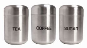 Brushed Stainless Steel Tea, Coffee & Sugar Dome Canisters