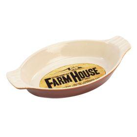 Ceramic Oval Eared Oven Dish 25x13x4cm Farmhouse FH039M