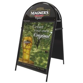 A2 Poster Pavement Display with semi - circular header. (white or black)