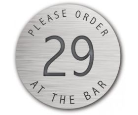 Table Number Discs Silver for Restaurant / Cafe / Pub - Please Order At The Bar - Singles