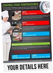 A5 Personalised Control Food Temperatures Notice. S/A. Pack of 20