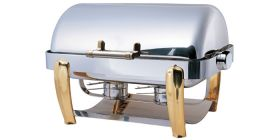 Elia SDF-O13B - Oblong Roll Top Chafer - Brass Legs & Stainless Steel Body
