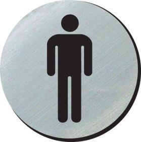 Gents symbol 75mm disc silver finish