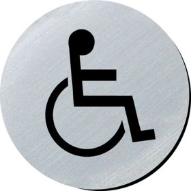 Disabled symbol 75mm disc silver finish