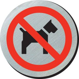No dogs symbol 75mm disc silver finish