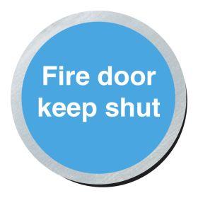 Fire door keep shut 75mm disc silver finish