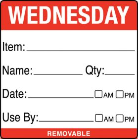 Wednesday item/date/use by 50x50mm food labels. 500 per roll
